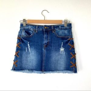 Angel Kiss Jean Skirt with Crisscross Stitching